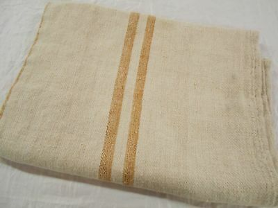 Vintage Antique GOLD STRIPE European HEMP LINEN Fabric FEED SACK GRAIN BAG 49""