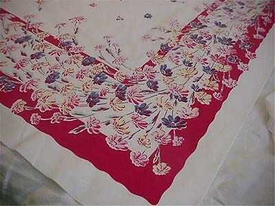 Vintage PRINTED Cotton TABLECLOTH Sprays OF Daisies SO Colorful AND Energetic