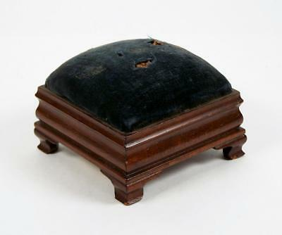 Vintage Pin Cushion Bench-made Mahogany Doll Furniture Foot Stool Labeled 1938