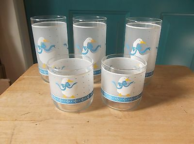 Three Tall and Two Short Libbey Glass Country Goose Drinking Glasses
