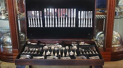 Extensive Silver Plate Kings Pattern Cutlery Canteen With Storing Table