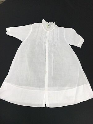 Vintage 1950's Era White Organdy Baby Dress Or Gown With Tucking