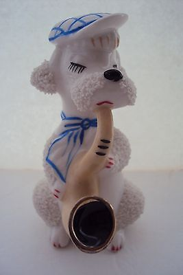 Vintage Perfume Lamp White Poodle Dog Playing Instrument