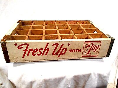 7up Soda Wood Crate-Fresh Up-24 bottle divided Crate