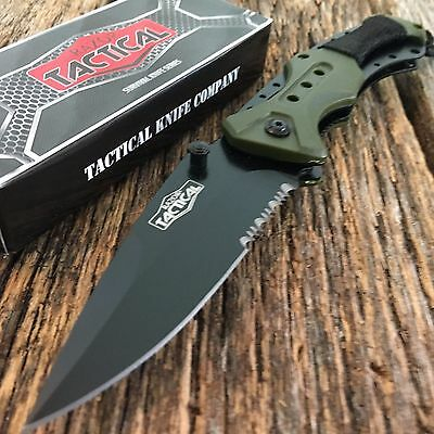 "RAZOR TACTICAL Green 8.5"" Assisted Open Pocket Knife Combat NEW w/cord"