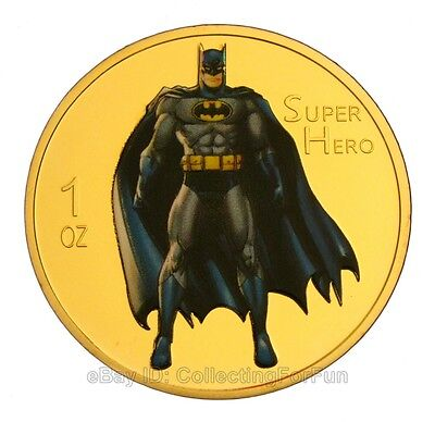 American Comic Superhero Batman Colored 24K Gold Plated Commemorative Coin