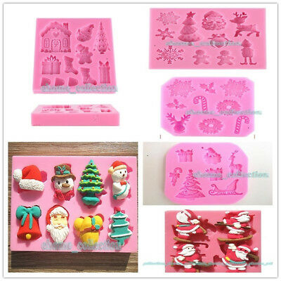 3D Christmas Theme Fondant Silicone Mold Sugarcraft Cake Decorating Tool Moulds
