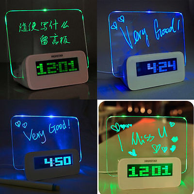 Cute LED Digital Alarm Clock Calendar Fluorescent Message Notice Board With Pen