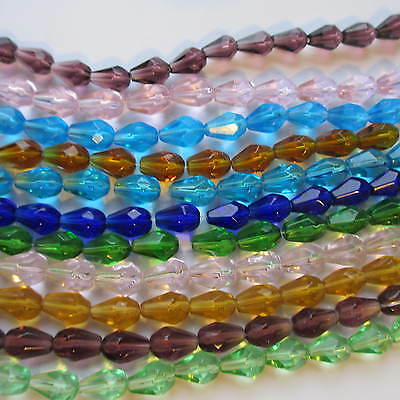 4 Strings Teardrop Faceted Glass Beads Crystal 12 x 8mm Craft Jewllery Making