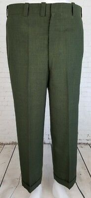 Vtg Green Tapered Turn Ups Poly/Rayon Trousers 70s does 40s W36 L27 ED32