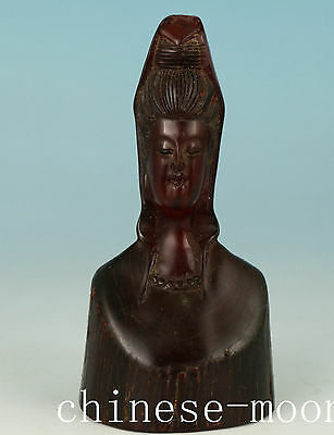 Rare Chinese Old Yak Horn Handmade Carved Kwan-yin Statue Ornament