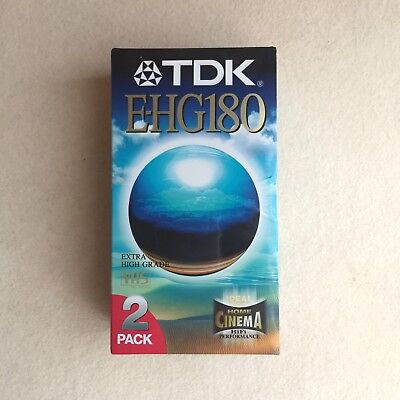 BRAND New & SEALED ~ 2X TDK E-HG 180 3 Hour VHS Video CASSETTES Extra HIGH Grade