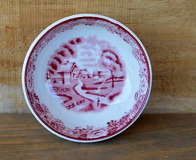 VTG Pink Enoch Woods Wood Ware China Salt Dish England English Scenery Wood Sons