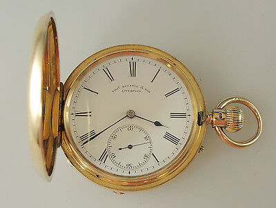 Solid 18K Gold Hunter Pocket Watch by Thos RUSSELL and Son. 1882