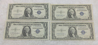 Consecutive pairs of 1935 silver certificates (4 notes total) - free shipping