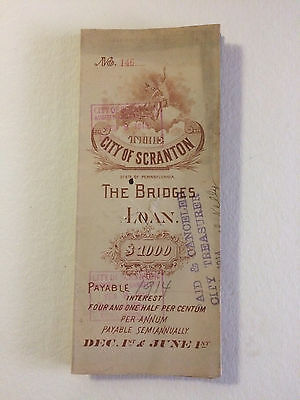1889 $1000 Scranton PA Bridges Loan Bond