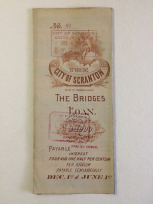 1889 $1000 Scranton PA Bridges Loan Bond 2