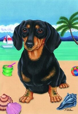Large Indoor/Outdoor Summer Flag (TP) - Black & Tan Dachshund 69008