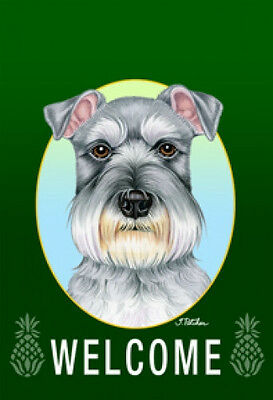 Large Indoor/Outdoor Welcome Flag (Green) - Uncropped Schnauzer 74140