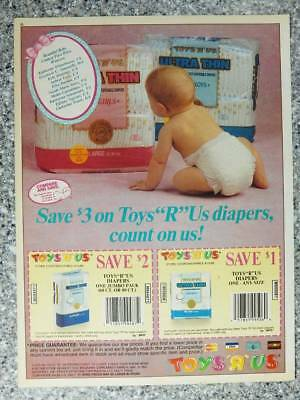 1992 Toys R Us Store Brand Diapers Vintage Magazine Ad Page Cute Baby in Diaper