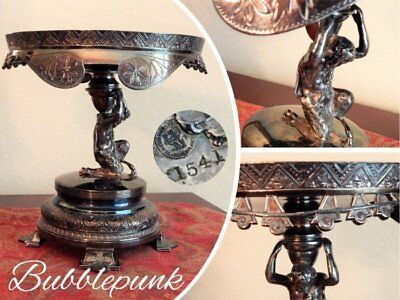 Antique MERIDEN Signed & Numbered Ornate Figural Silverplate Footed Compote