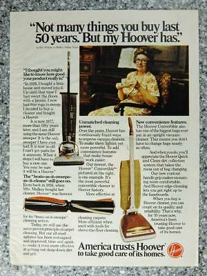 1979 Hoover Upright Vacuum Cleaners - Vintage Magazine Ad Page - Mrs. Mulkey