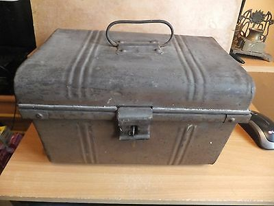 Vintage Small Metal Chest Travel Trunk