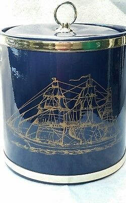 Vintage Ice Bucket Navy Blue Patent Gold Sail Ship