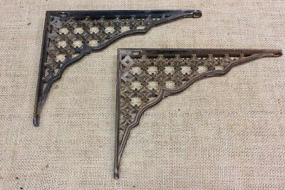 "2 Shelf support brackets 6"" X 8"" vintage 1880's old rustic iron cross lattice"