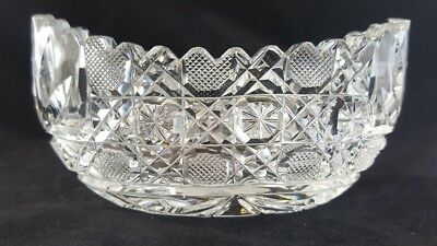 American Brilliant Cut Glass Hobstar Floral Saw Tooth Boat/Canoe Shape Sm Bowl