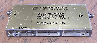 Microwave Power L1920-29-R106 Solid State Amplifier 19.5 - 20.5GHz