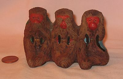 Vintage Pottery See, Hear And Speak No Evil Monkeys Figure; Made In Japan