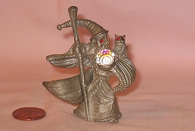 Jeweled Red Eyes Wizard & Owl With Crystal Ball Pewter Figure; By Spooniques
