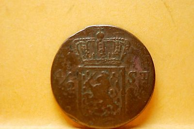 Netherlands East Indies, 1841-S 1/2 Stuiver Dark!!, Good+, No Reserve,        *+