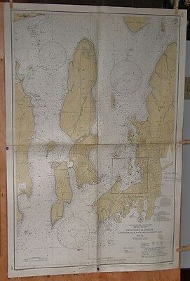 Old Working 1939 NEWPORT RI HARBOR CHART Good To Frame Maine Estate