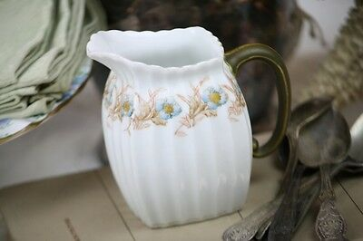 Antique Limoges Creamer Pitcher Blue Flowers Fluted Body Brown Leaves French