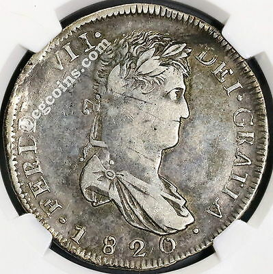 1820-Zs RG NGC VF 20 War of Independence MEXICO Silver 8 reales Coin (17042301D)