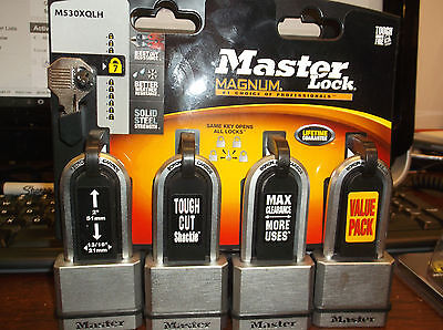"Padlock Lot Keyed Alike in Solid Steel with 2"" Shackle Key 4 PACK By Master Lock"
