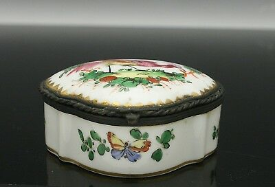 19th C. Porcelain Patch Snuff Trinket Box Hand Painted Bird Manner of Chelsea