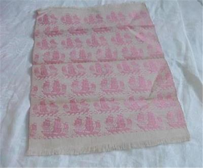 Unusual Antique Jacquard Woven Tray Cloth Sailing Ships Pink/Ivory Reversible
