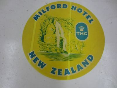 Vintage MILFORD HOTEL THC NEW ZEALAND Luggage Sticker