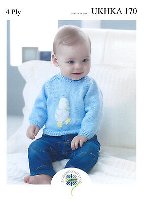 UKHKA 170 Baby Jumpers Embroidered Motif 4ply Yarn 16in - 24in Knitting Pattern