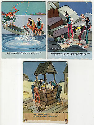 3 Comical Hillbilly Ink Blotter Halves, Fishing, Water Well, Old Man Hiding
