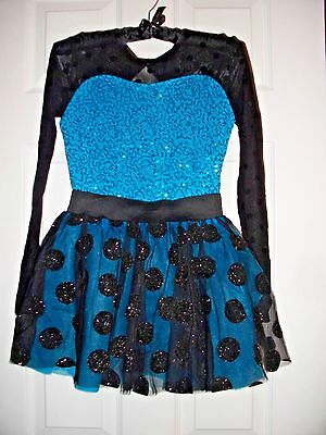 Weissman Orchid Dance Recital Costume Size LC (Large Child) blue and black