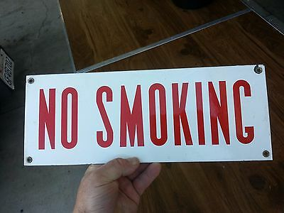 vintage NO SMOKING Sign porcelain enamel