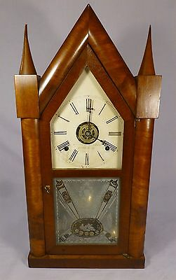 Antique BREWSTER & INGRAHAM Steeple Clock-with Patented Brass Springs- BEST OFF-
