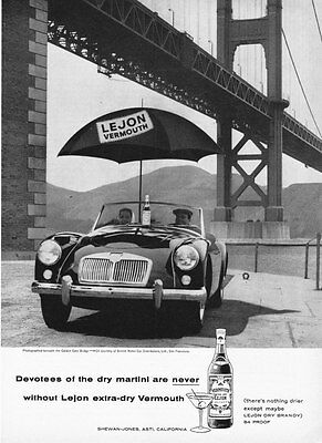 1958 MG MGA Under Golden Gate Bridge photo LeJon Vermouth vintage promo print ad