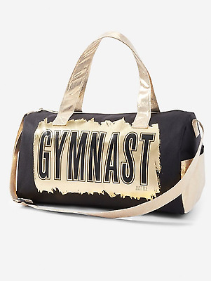 Justice Girl's 'GYMNAST' Luxe Metallic Sports Duffle Bag NWT