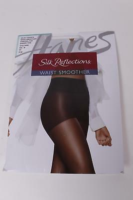 $9 Hanes Silk Reflections Women's Waist Smoother Pantyhose Size EF Black NEW