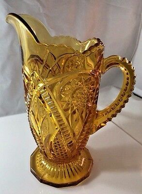 """Vintage Pressed Glass Tall Amber Pitcher Scalloped Star Diamond Footed 8-1/4"""""""